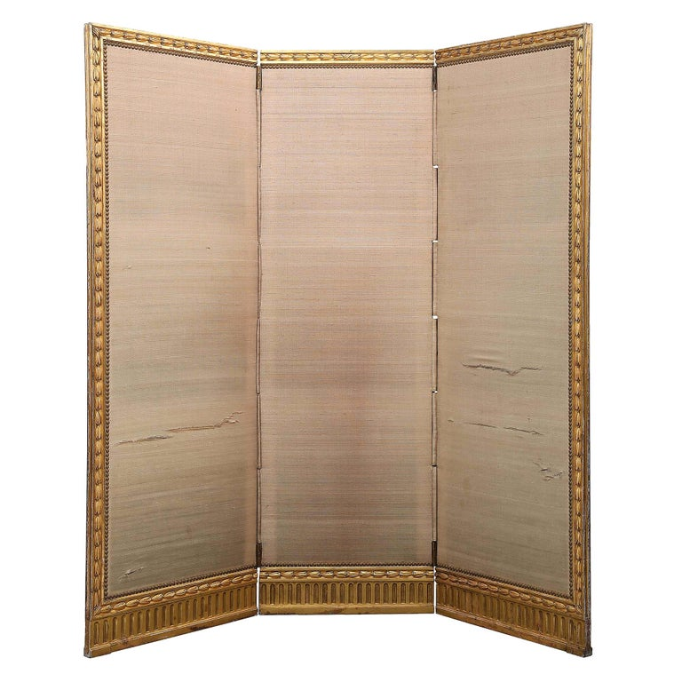 French Mid-19th Century Giltwood Louis XVI St. Three Panel Screen For Sale