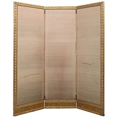 French Mid-19th Century Giltwood Louis XVI St. Three-Panel Screen