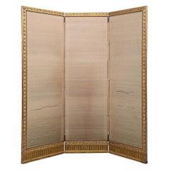 French Mid-19th Century Giltwood Louis XVI St. Three-Panel Screen