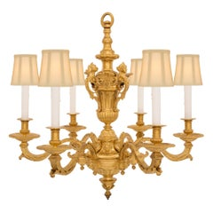French Mid-19th Century, Louis XIV Style Eight-Arm Ormolu Chandelier