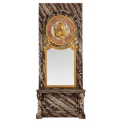 French Mid-19th Century Louis XIV Style Marble Console and Matching Mirror
