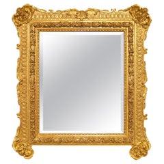 French Mid-19th Century Louis XV Rectangular Giltwood Mirror