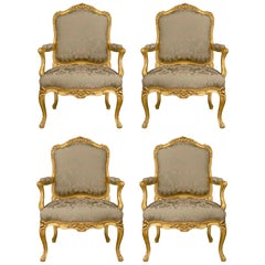 French Mid-19th Century Louis XV St. Giltwood Armchairs