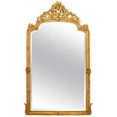French Mid-19th Century Louis XV St. Giltwood Mirror