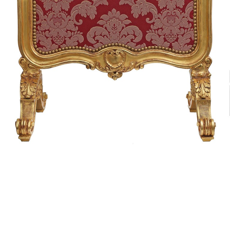 Fabric French Mid-19th Century Louis XV Style Giltwood Screen For Sale