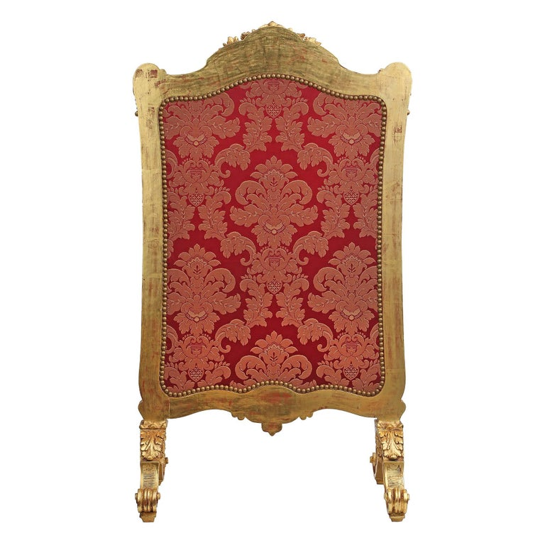 French Mid-19th Century Louis XV Style Giltwood Screen For Sale 1