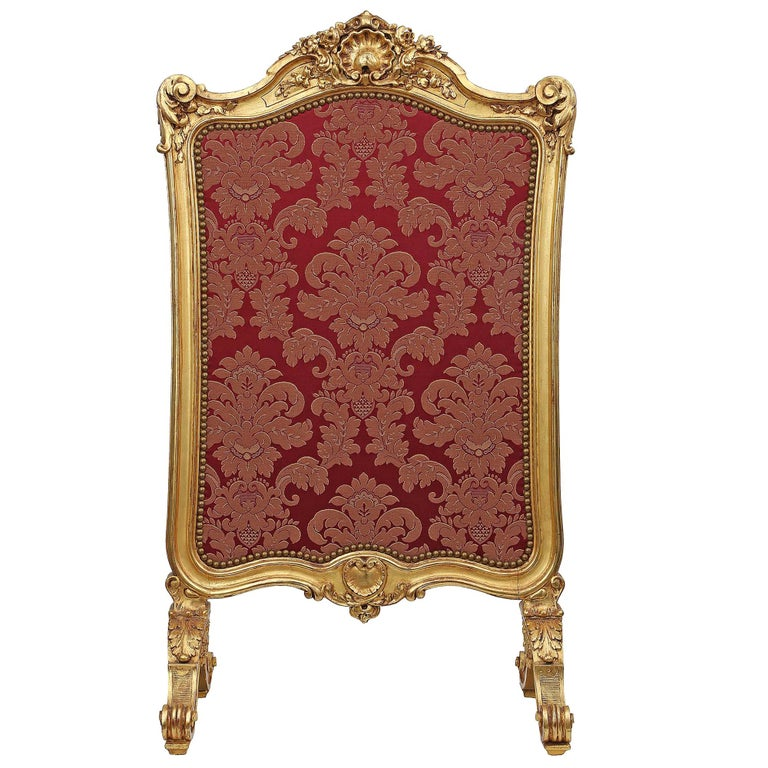 French Mid-19th Century Louis XV Style Giltwood Screen For Sale