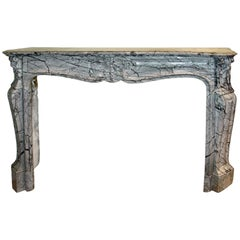 French Mid-19th Century Louis XV St. 'Gris St. Anne' Marble Mantel