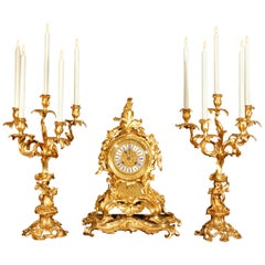 French Mid-19th Century Louis XV St. Ormolu Garniture Set