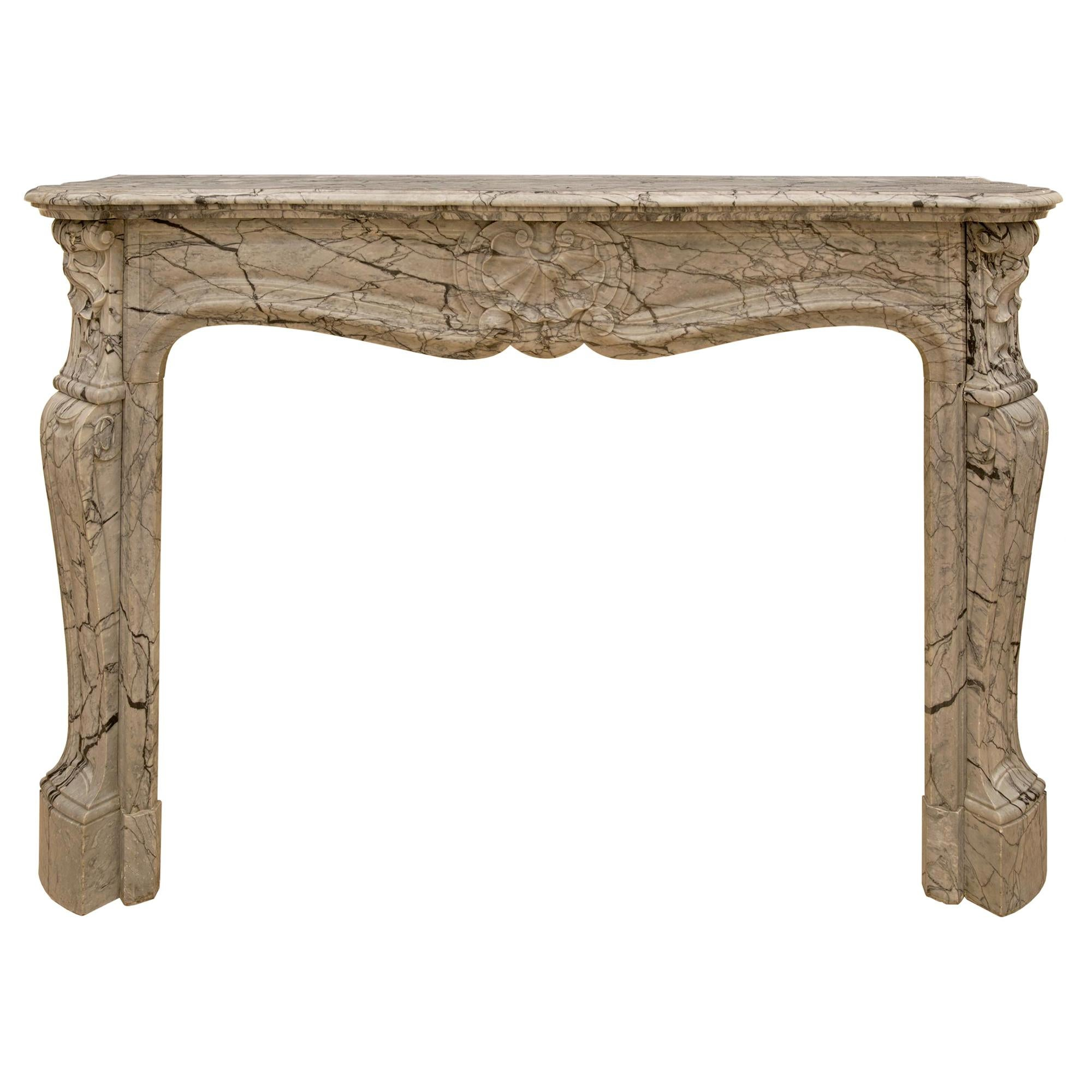 French Mid 19th Century Louis XV St. Sarrancolin Marble Fireplace Mantle