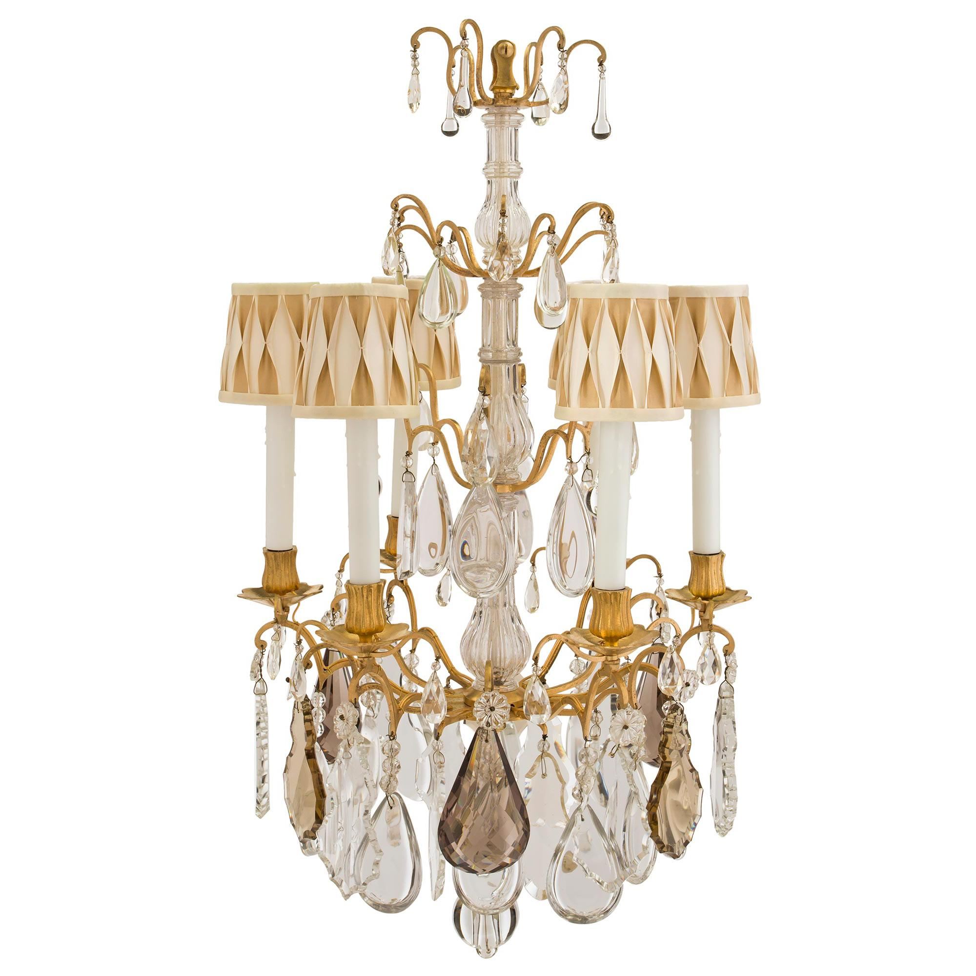 French Mid-19th Century Louis XV Style Baccarat Crystal and Ormolu Chandelier