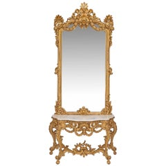 French Mid-19th Century Louis XV Style Giltwood Console and Mirror