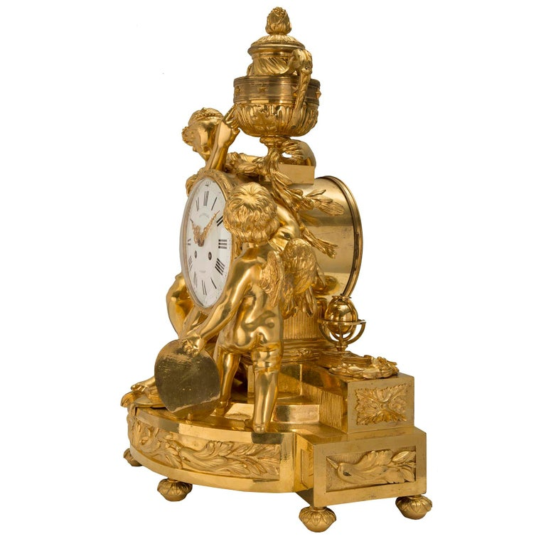 French Mid-19th Century Louis XVI St. Clock in Ormolu Signed 'BEURDELEY À PARIS' In Excellent Condition For Sale In West Palm Beach, FL