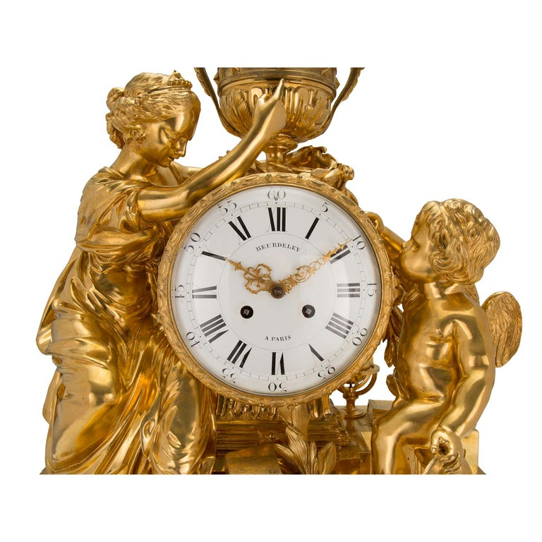 French Mid-19th Century Louis XVI St. Clock in Ormolu Signed 'BEURDELEY À PARIS' For Sale 1