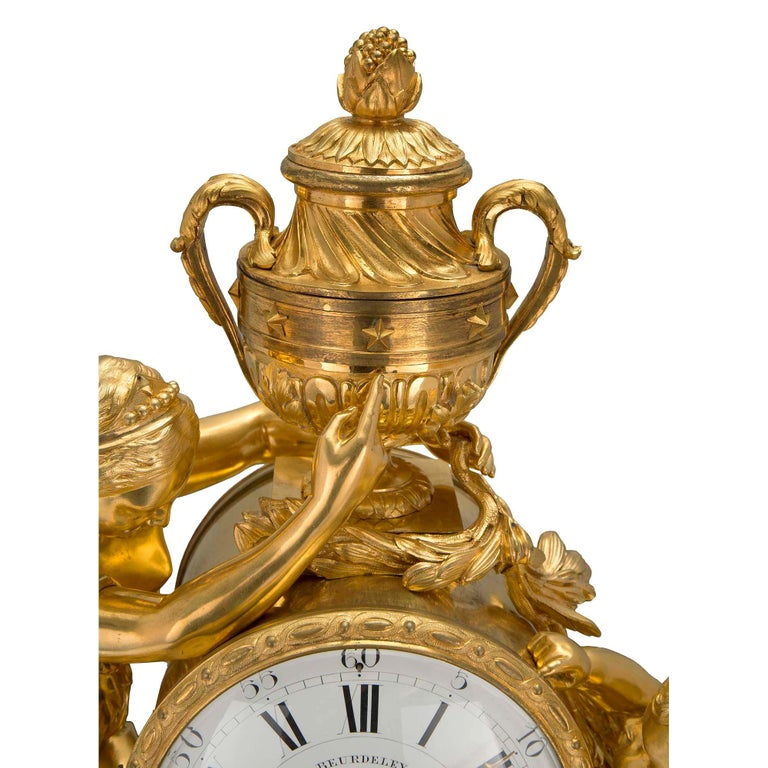 French Mid-19th Century Louis XVI St. Clock in Ormolu Signed 'BEURDELEY À PARIS' For Sale 3