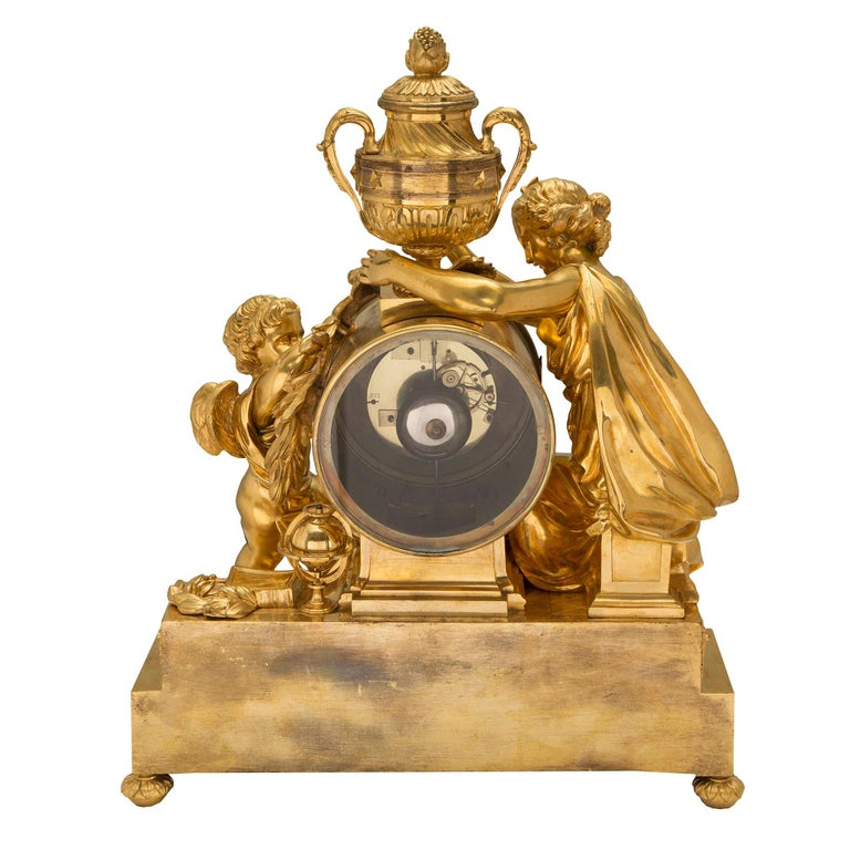 French Mid-19th Century Louis XVI St. Clock in Ormolu Signed 'BEURDELEY À PARIS' For Sale 4
