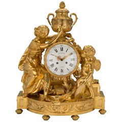 French Mid-19th Century Louis XVI St. Clock in Ormolu Signed 'BEURDELEY À PARIS'