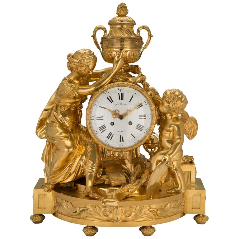 French Mid-19th Century Louis XVI St. Clock in Ormolu Signed 'BEURDELEY À PARIS' For Sale