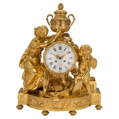 French Mid 19th Century Louis XVI St. Clock in Ormolu Signed 'BEURDELEY À PARIS'