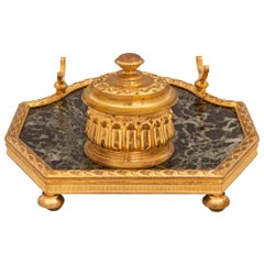 French Mid-19th Century Louis XVI Style Green Marble and Ormolu Mounted Inkwell