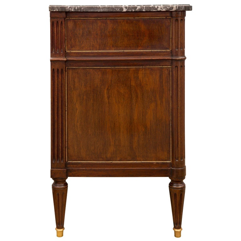 French Mid 19th Century Louis XVI St. Mahogany, Ormolu, and Marble Chest For Sale 2