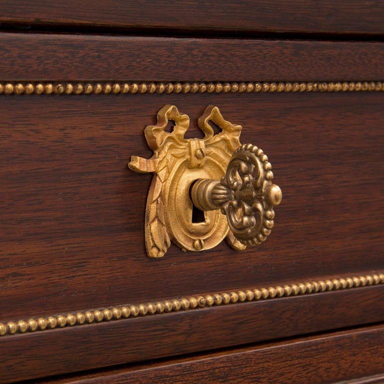 French Mid 19th Century Louis XVI St. Mahogany, Ormolu, and Marble Chest For Sale 3