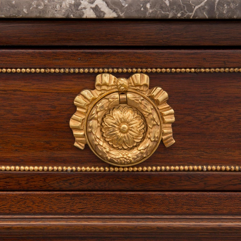 French Mid 19th Century Louis XVI St. Mahogany, Ormolu, and Marble Chest For Sale 4