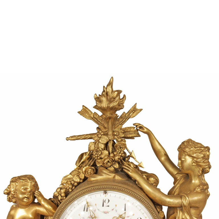French Mid-19th Century Louis XVI Style Marble and Ormolu Clock In Excellent Condition For Sale In West Palm Beach, FL