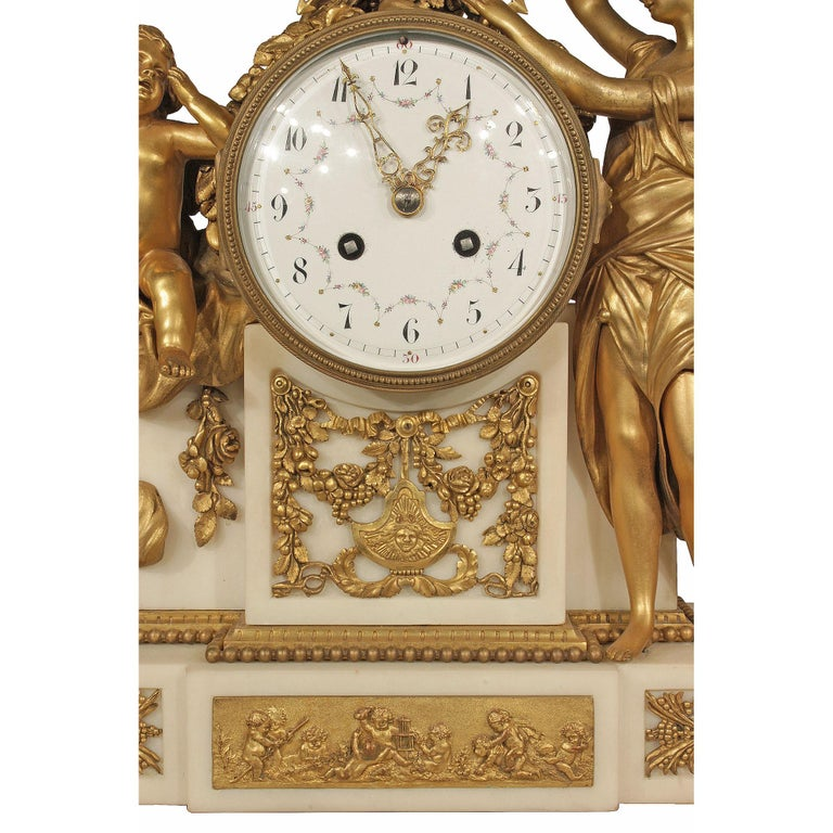 French Mid-19th Century Louis XVI Style Marble and Ormolu Clock For Sale 1