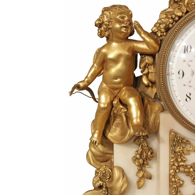 French Mid-19th Century Louis XVI Style Marble and Ormolu Clock For Sale 2