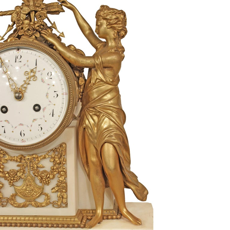 French Mid-19th Century Louis XVI Style Marble and Ormolu Clock For Sale 3