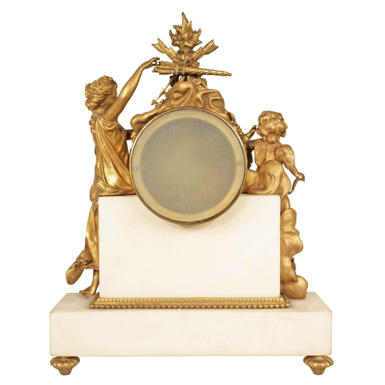 French Mid-19th Century Louis XVI Style Marble and Ormolu Clock For Sale 4