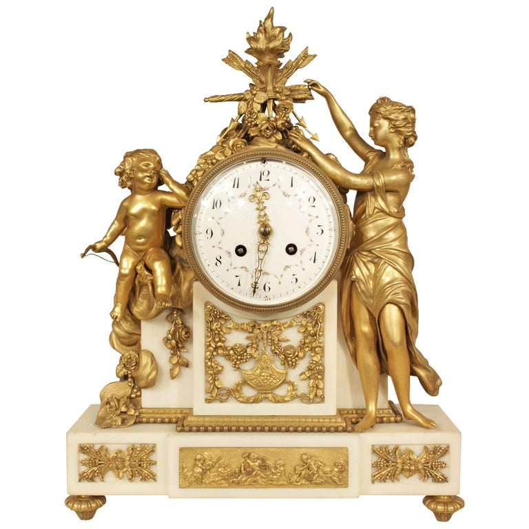 French Mid-19th Century Louis XVI Style Marble and Ormolu Clock For Sale