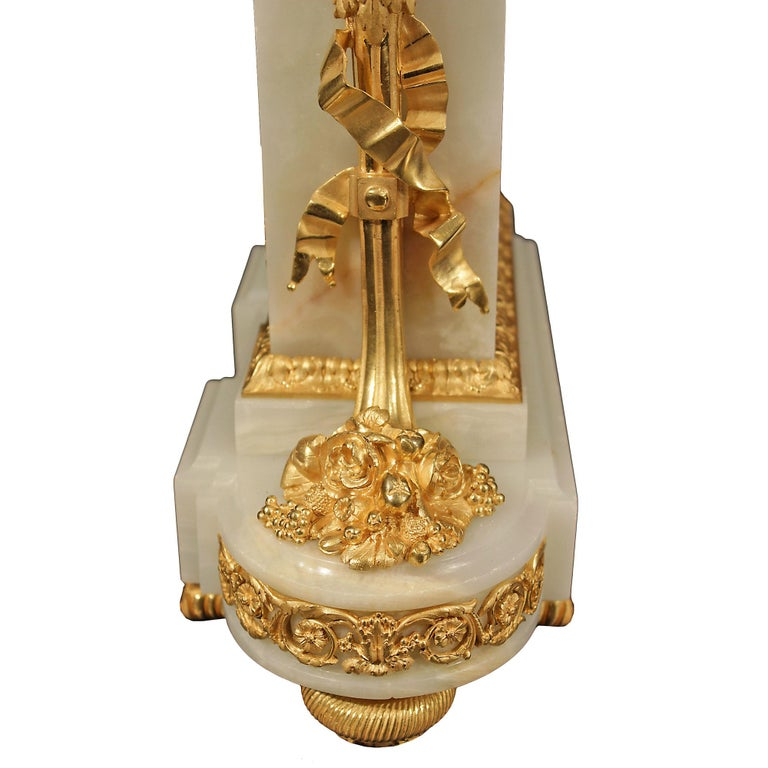 French Mid-19th Century Louis XVI Style Onyx and Ormolu Clock For Sale 2