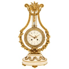 French Mid-19th Century Louis XVI St. Ormolu and Marble and Crystal Clock