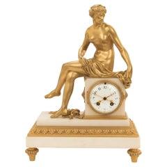 French Mid 19th Century, Louis XVI St. Ormolu and White Carrara Marble Clock
