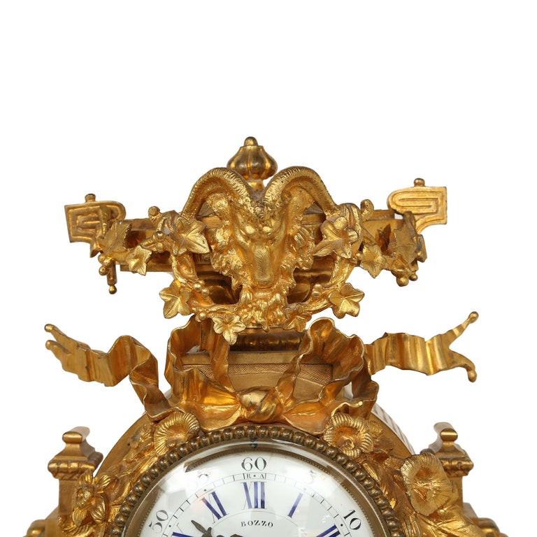 French Mid-19th Century Louis XVI Style Ormolu Clock In Excellent Condition For Sale In West Palm Beach, FL