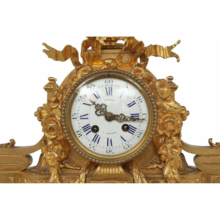 French Mid-19th Century Louis XVI Style Ormolu Clock For Sale 1