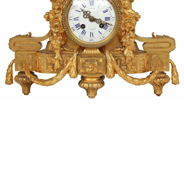 French Mid-19th Century Louis XVI Style Ormolu Clock For Sale 2