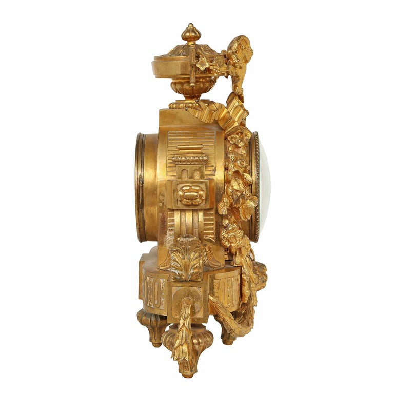 French Mid-19th Century Louis XVI Style Ormolu Clock For Sale 3