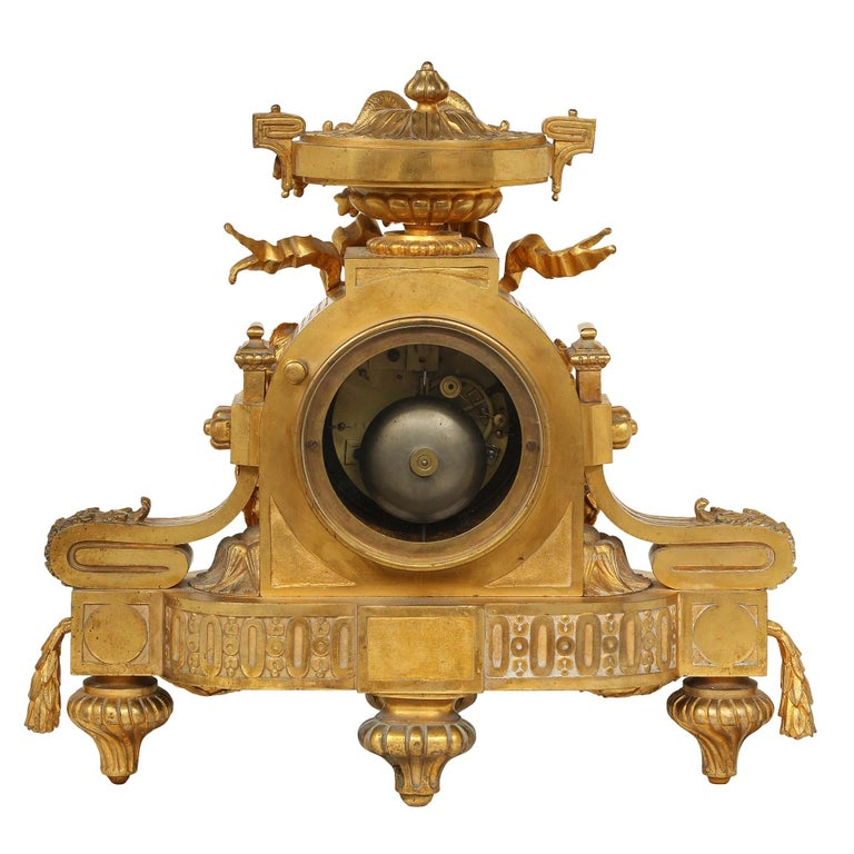 French Mid-19th Century Louis XVI Style Ormolu Clock For Sale 4