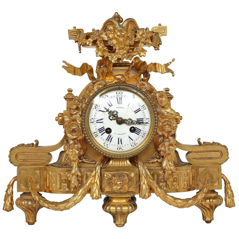 French Mid-19th Century Louis XVI Style Ormolu Clock For Sale