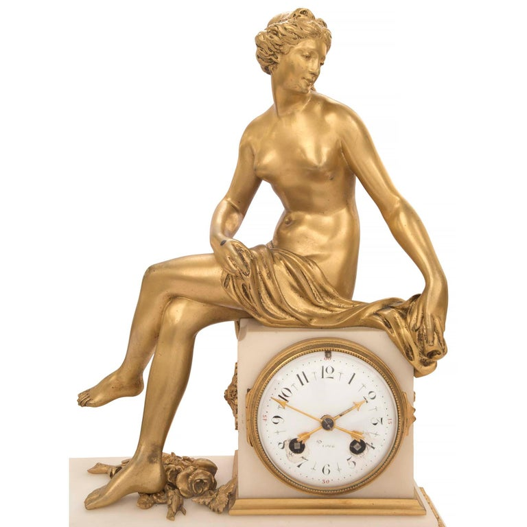 French Mid-19th Century Louis XVI St. Ormolu Marble Clock with All Original Gilt In Excellent Condition For Sale In West Palm Beach, FL