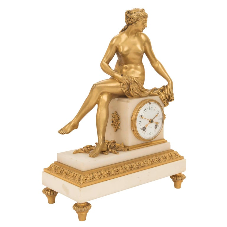 French Mid-19th Century Louis XVI St. Ormolu Marble Clock with All Original Gilt For Sale 1