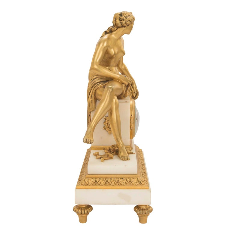 French Mid-19th Century Louis XVI St. Ormolu Marble Clock with All Original Gilt For Sale 2