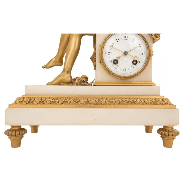 French Mid-19th Century Louis XVI St. Ormolu Marble Clock with All Original Gilt For Sale 3
