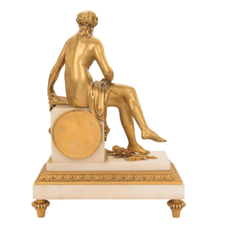 French Mid-19th Century Louis XVI St. Ormolu Marble Clock with All Original Gilt For Sale 4