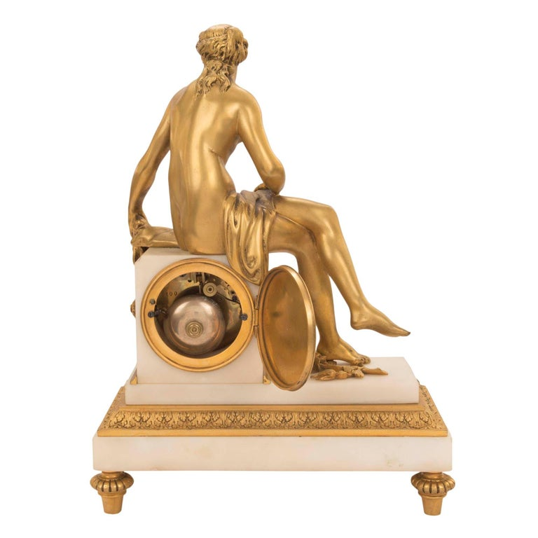 French Mid-19th Century Louis XVI St. Ormolu Marble Clock with All Original Gilt For Sale 5