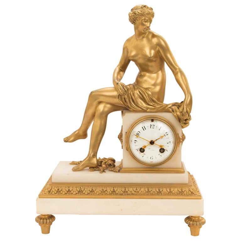 French Mid-19th Century Louis XVI St. Ormolu Marble Clock with All Original Gilt For Sale
