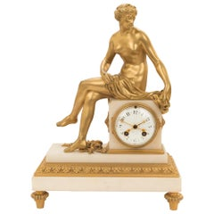 French Mid-19th Century Louis XVI St. Ormolu Marble Clock with All Original Gilt